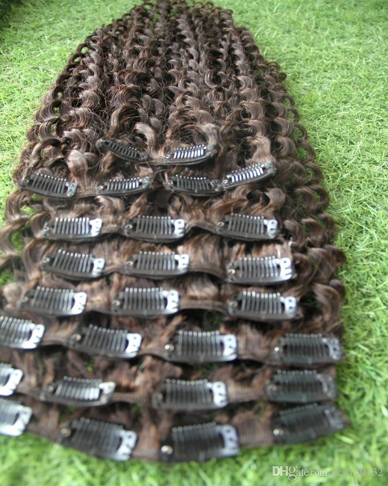 Mongolian kinky curly hair clip in 100g #4 Dark Brown afro kinky curly human hair clip in extensions