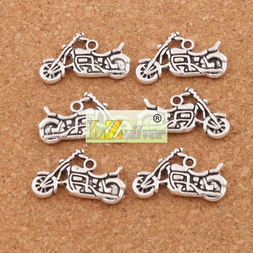Motocicleta Spacer Charme Beads Pingentes 120 pçs / lote 24.5x14.3mm Liga de Prata Antigo Jóias Artesanais DIY L494 LZsilver