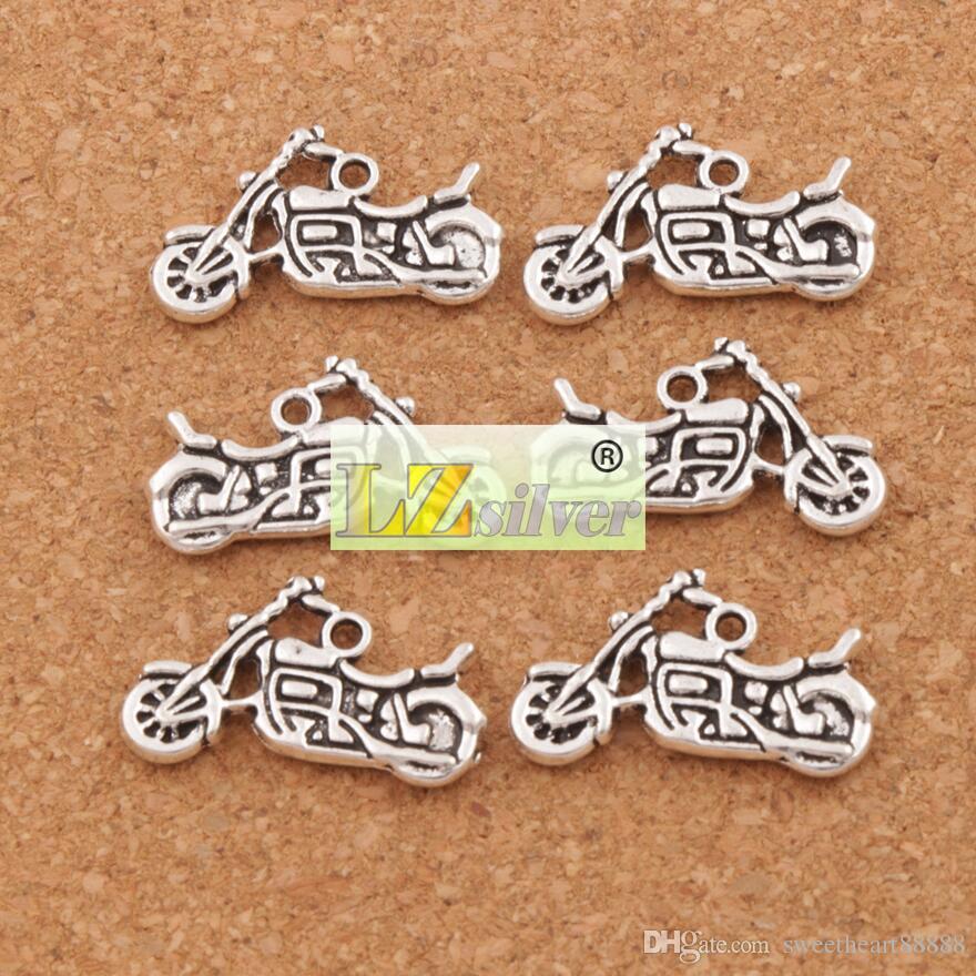 Motorcykel spacer charm pärlor hängen / parti 24.5x14.3mm antika silver legering handgjorda smycken diy L494 Lzsilver