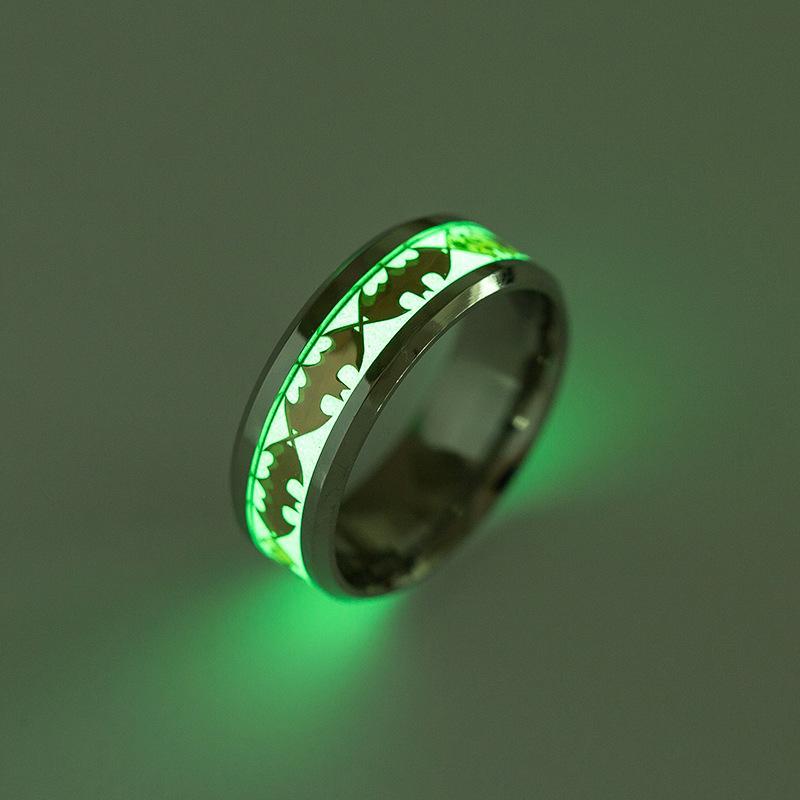 Titanium Steel Night Glowing Batman Ring Wedding Rings For Men