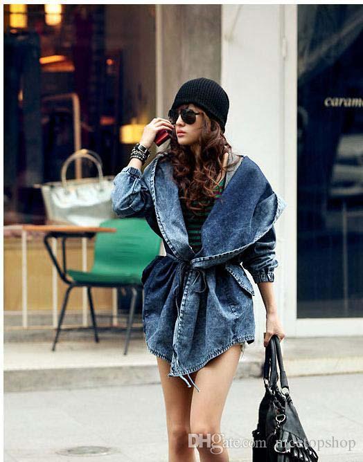 Fashion Women Lady Denim Trench Coat Hoodie Hooded Outerwear Jean Jacket Cool