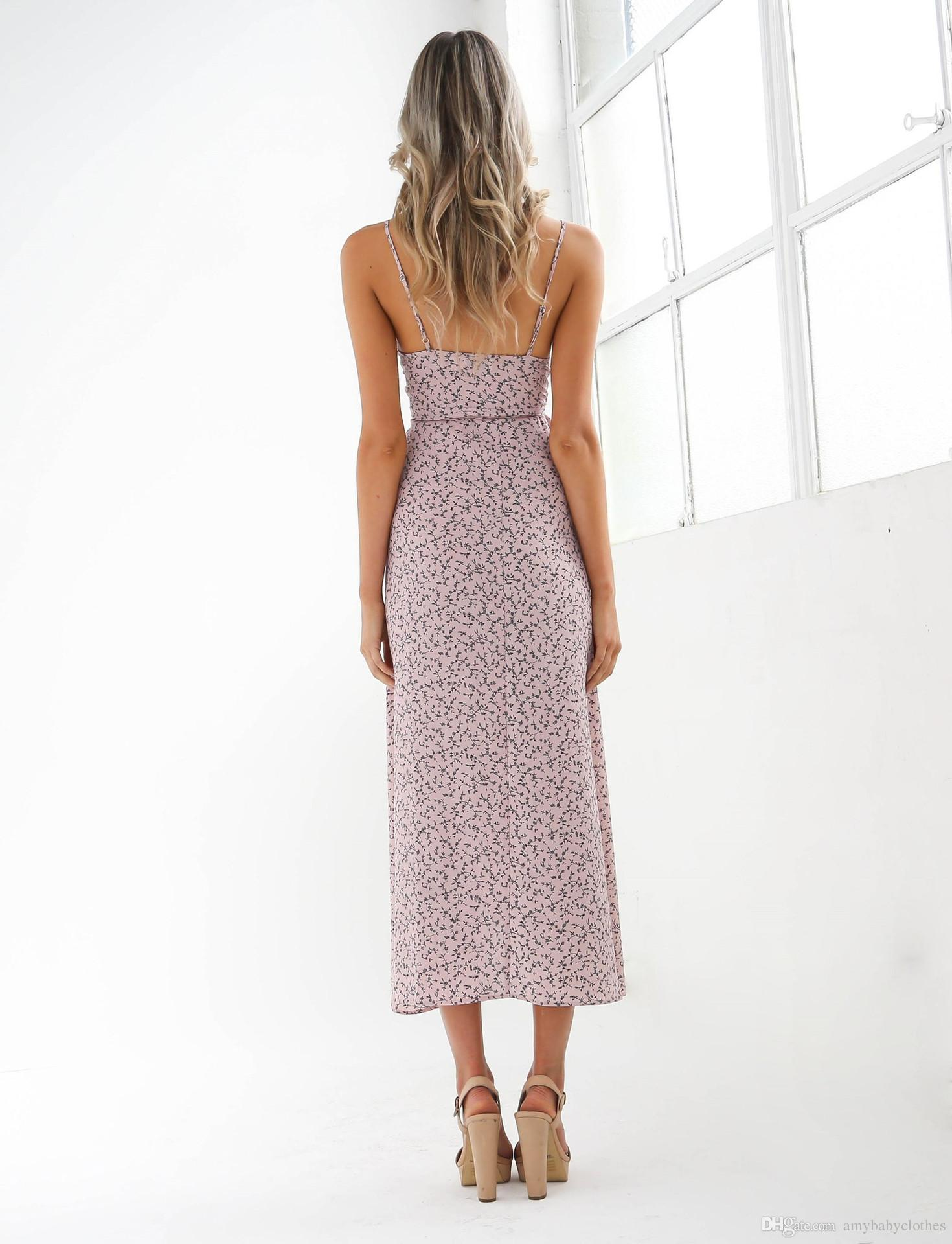 Sling Floral Dress Three Colors Summer Chic Vintage Off Shoulder Manica corta Long Top Style Longuette Long Floral Maxi Dress Boho Long Dres