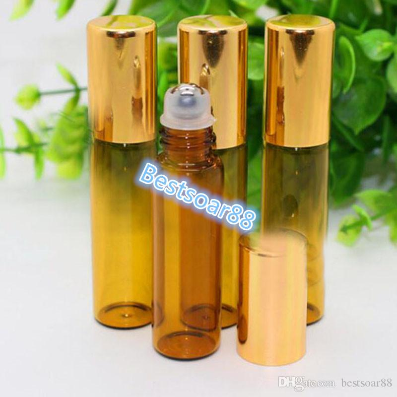Wholesale Amber Bottle Stainless Metal Roller Ball Empty 5ml Glass Roll On Bottle With Gold Cap For for Cosmetic Essential Oil
