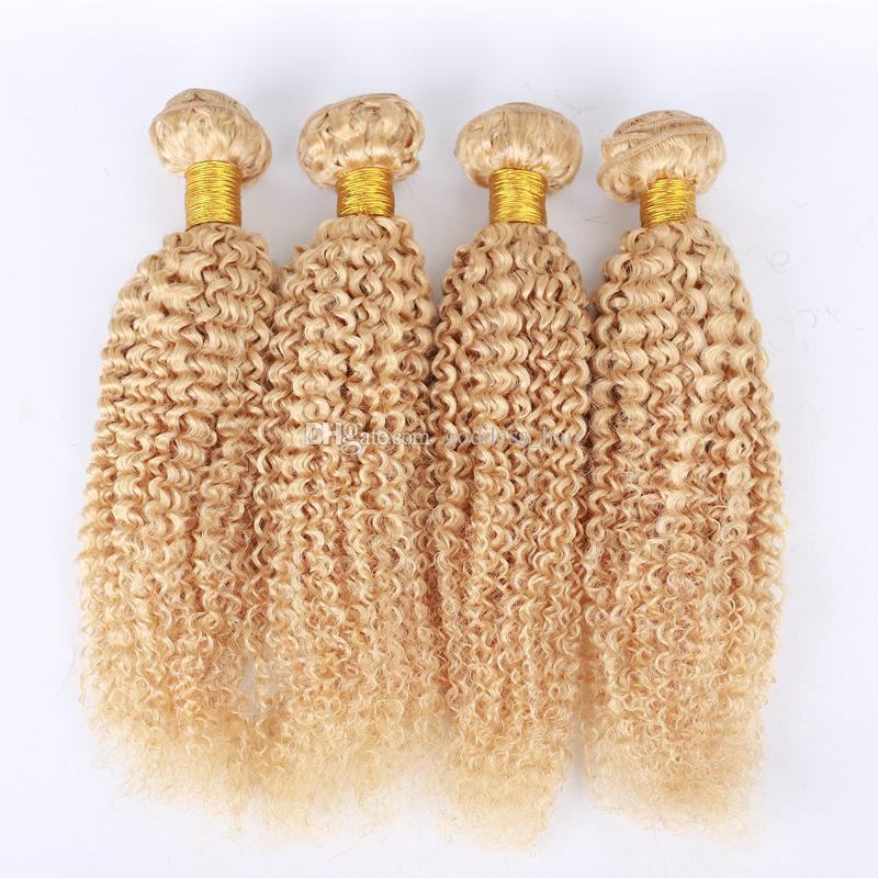 Hot Selling Kinky Curly Hair Weaves Brazilian #613 Pure Color Human Hair Bundles Afro Kinky Curly Hair Extensions For woman