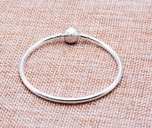 100% Silver Sterling Silver Authentic Bracelet Fit Original Pandora Bracelet Bangle or Chamilia Bead Charms Solid Silver