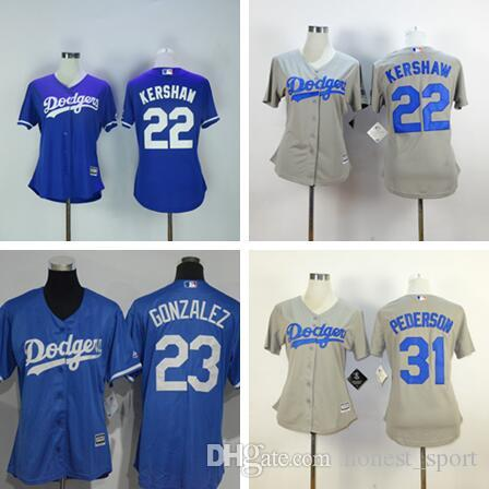 bc69bc034 ... real white cheap women baseball los angeles dodger jersey 5 corey  seager 22 clayton kershaw 23