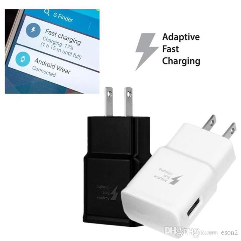 Caricatore a muro di viaggio ad alta velocità ad alta velocità Plug US Plug 5V / 2A 9V / 1.67A Home Adattatore di viaggio Samsung Galaxy S6 S7 S8 Edge Note4