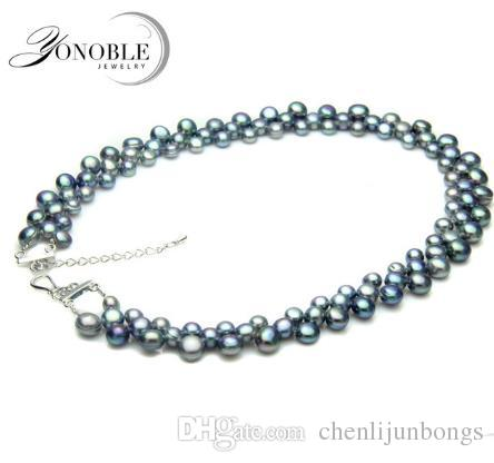 Multilay eal freshwater pear necklace 6-7-8mm for women,wedding natural pearl necklaces chunky colorful mother anniversary best gift