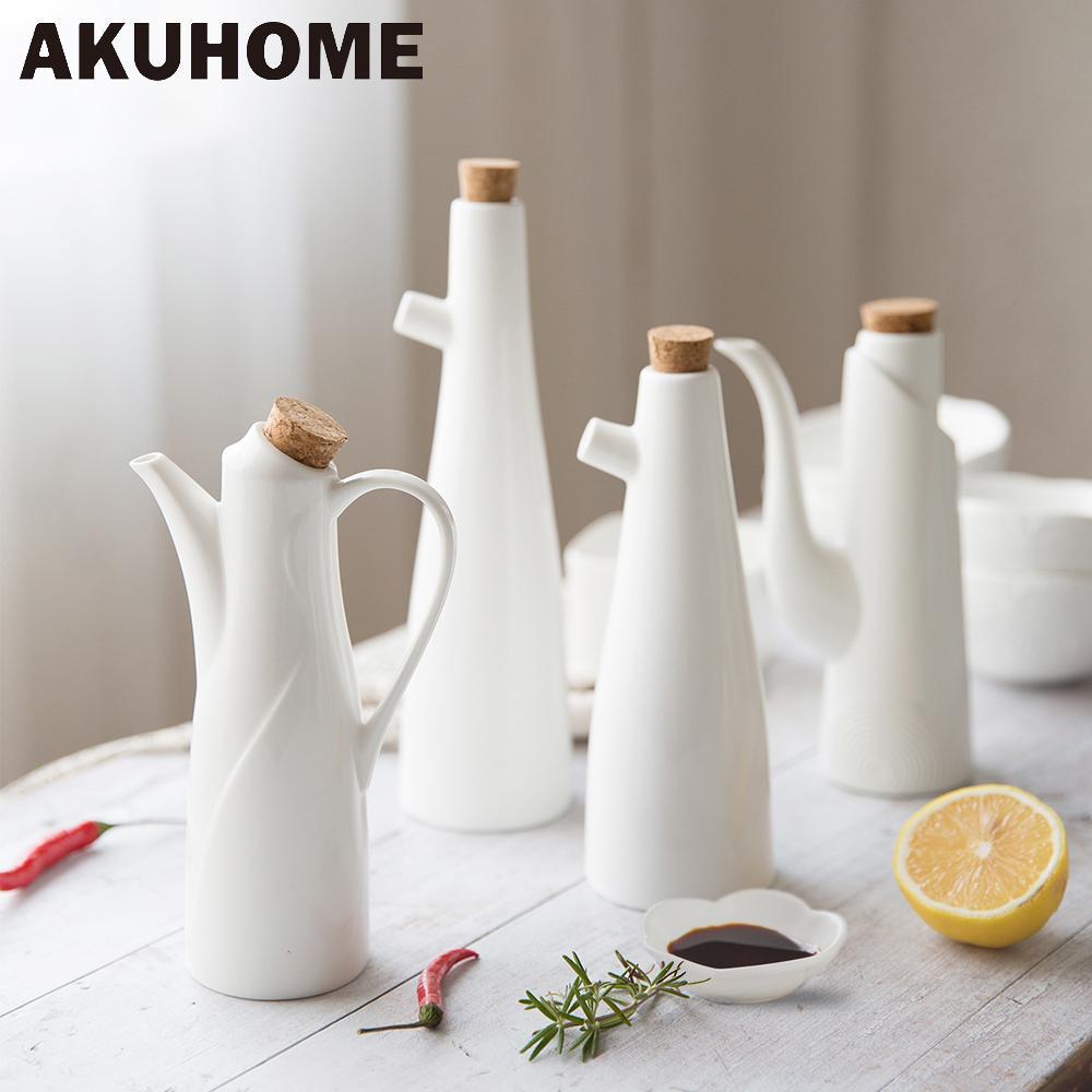 Wholesale- Ceramic Porcelain Olive Oil Pot Soy Sauce Vinegar Seasoning Can  Oil Bottle Kitchen Accessories Cooking Tools Storage Bottles