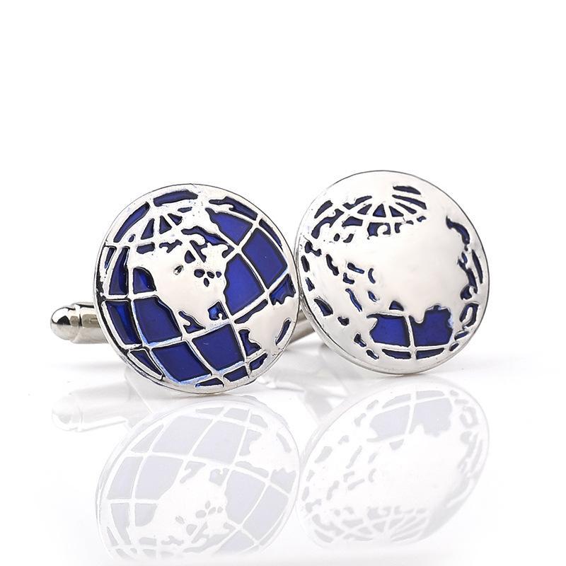 Neue Design Globe Earth Manschettenknöpfe Manschettenknöpfe Weltkarte Männer Französisch Hemd Krawatte Clips Manschettenknöpfe Modeschmuck Großhandel