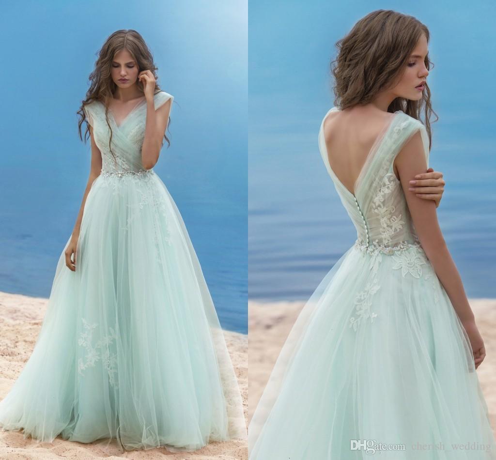 V Neck Evening Dresses Mint Lace Applique A Line Tulle Prom Dresses ...