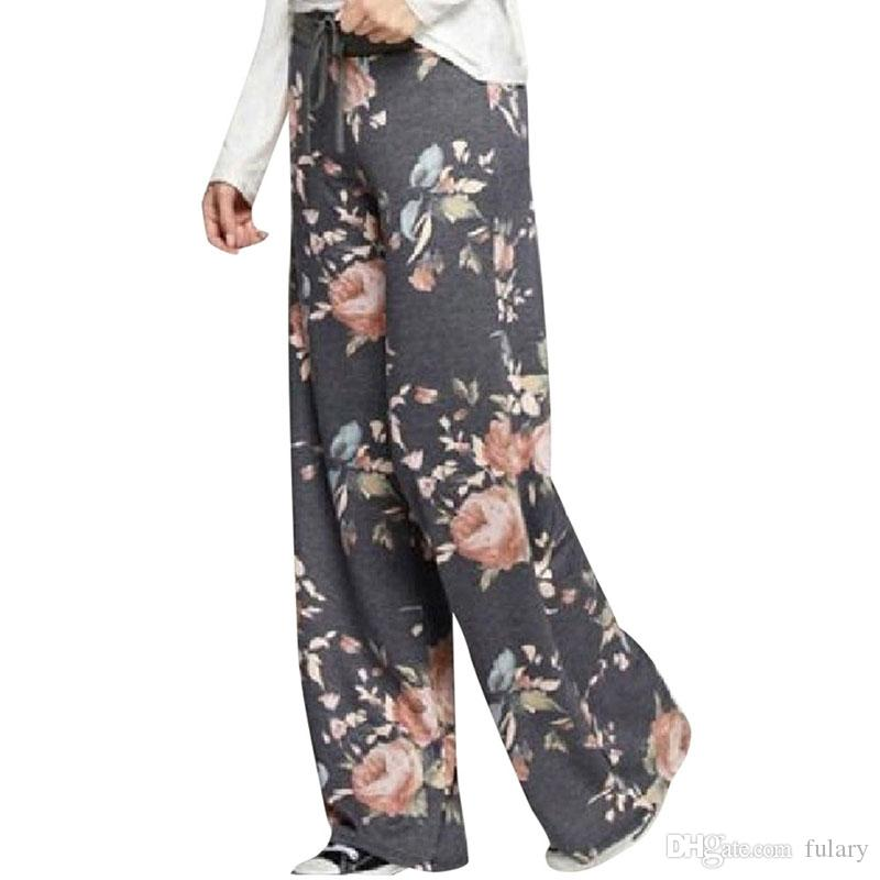 S-3XL Women Yoga Pants Boho Style trousers High Waist Flare Wide Leg Pants Fashion printing Vintage Palazzo Trousers