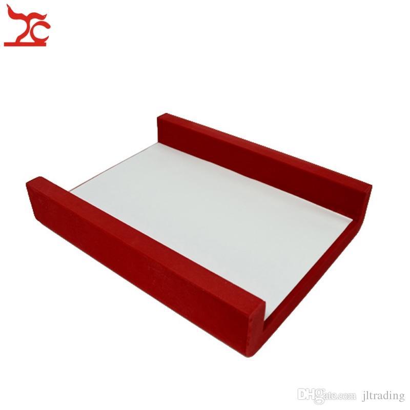 Spedizione gratuita Red Velvet Bottom Board Set Portable Display gioielli in legno Plateform anello pendente orecchino Neckklace Braccialetto a catena