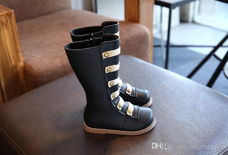 Kids roman booties fashion girls cute rivet knee length high princess single boots autumn children non-slip soft equestrian boots R0125