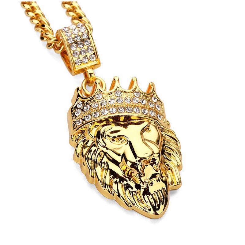 2017 мода хип-хоп блестящий Алмаз Кристалл Корона Лев голову кулон ожерелье мужские 14 K позолоченные длинная цепь ожерелье партии подарки