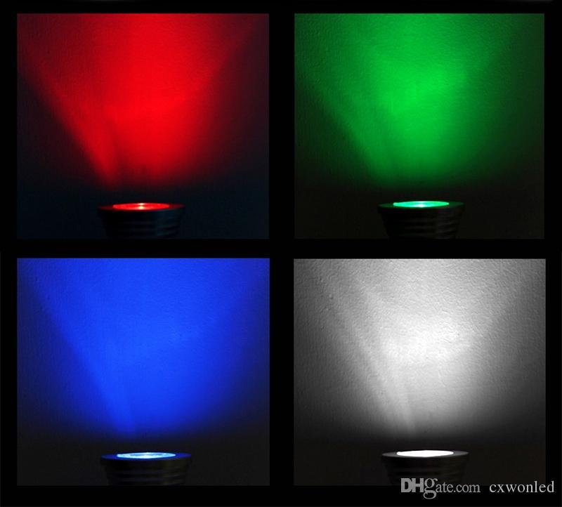 Lampade a led variopinte E27 E14 B22 GU10 MR16 RGB Lampade a led variegate da 85-265V 3W illuminazione di Natale + telecomando IR da 24 anni