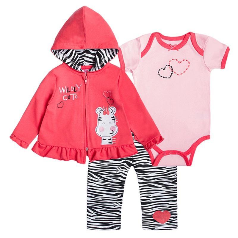 62a260592 Atacado- 2017 New Baby Boy Set Roupas 3pcs ternos Casaco Bodysuit Calças  Algodão de manga comprida de inverno do bebê recém-nascido Meninas Roupas  Conjuntos