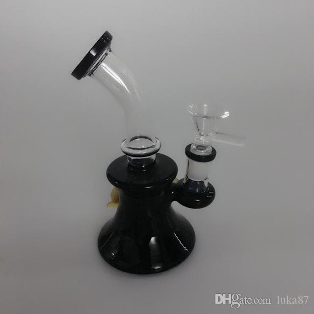 crazy cheap price 6.5 inches tall New small portable glass bong glass smoking pipe water pipe bong bubbler with 14 mm female joint FC-053