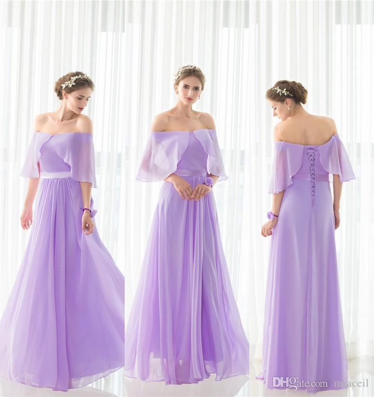 Elegant Light Purple Bridesmaid Dresses Ruffles Long Bridesmaid ...