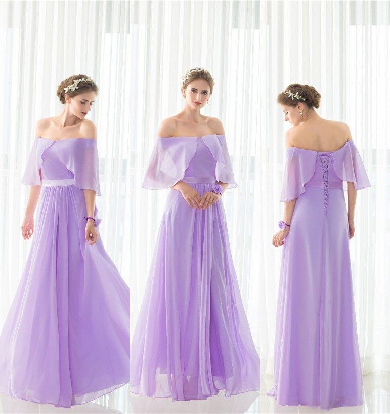 Hermosa Vestidos Largos De Dama De Honor Púrpura Barato Patrón ...