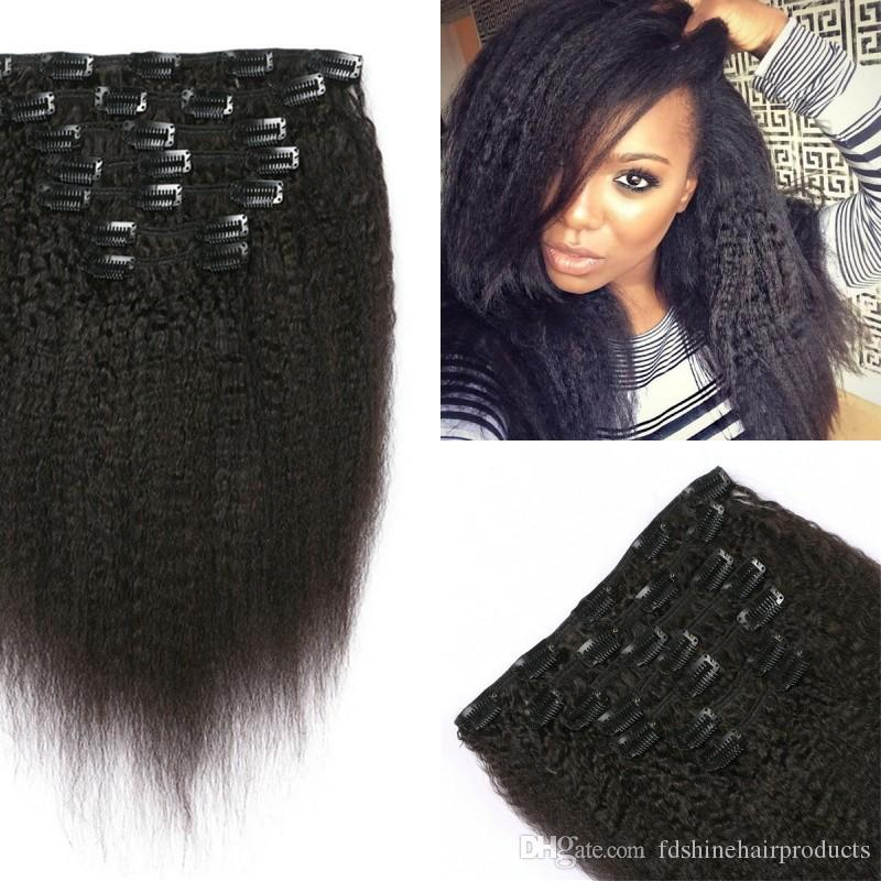 Kinky Straight Clip In Hair Extensions Cheap Clip In Virgin