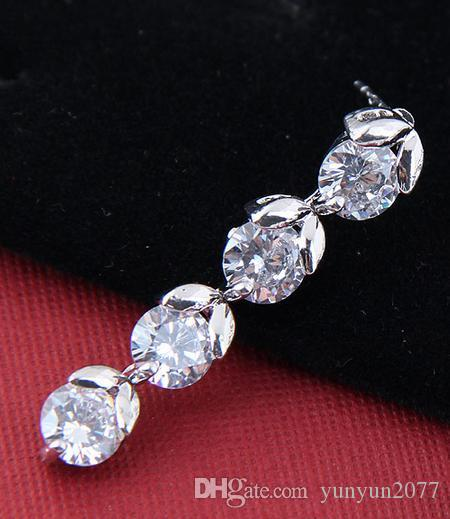 Luxury Bright Zircon Real Gold Bubble leaf Cherry Charm Bride Wedding Stud Earrings For Women High Quality Fashion Fine Jewelry Accessories