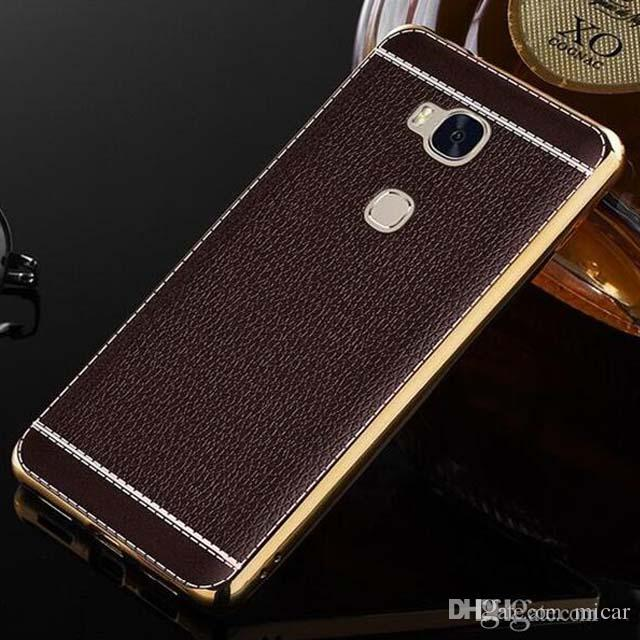 huge discount 209d4 aac34 For iphone7 6 plus Litchi Leather style Honor 5X Case Plating Leather Skin  Soft TPU Back Cover For Huawei Honor 5X 5A 5C