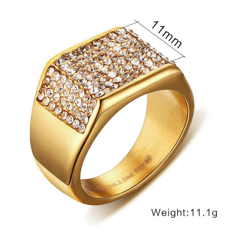 Milatu Luxury Wedding Rings For Men Gold Color Stainless Steel Pave ...
