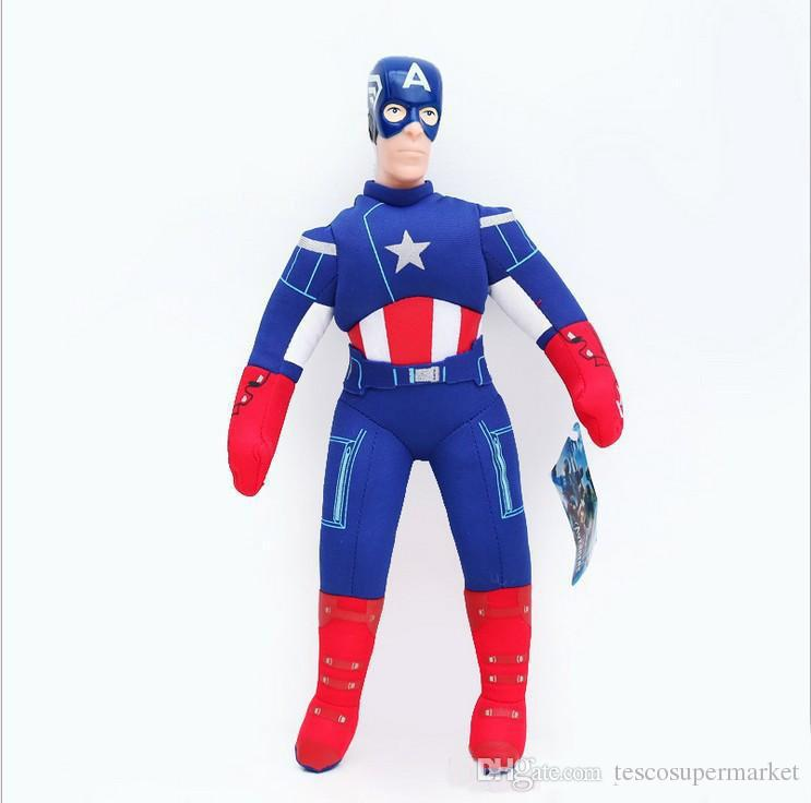 40cm Super Hero Soft Dolls The Hulk Thor Spider Man Iron Man Captain America Plush Dolls Toys Stuffed Animals Cartoon Plush Toys Q0661