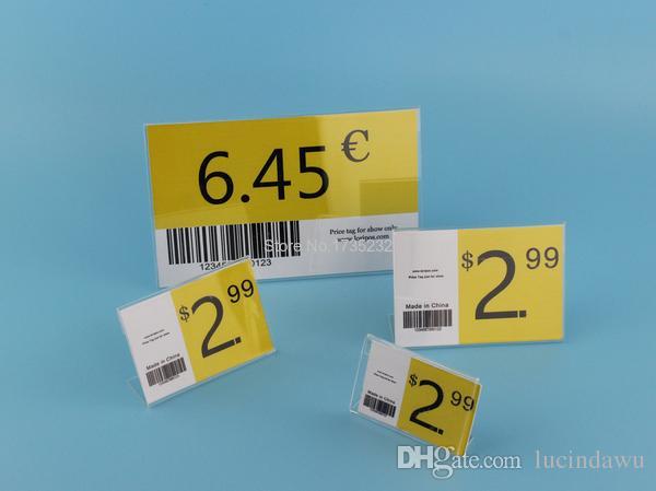 Divers taille plus petite T1.3mm Acrylique Clair En Plastique Signe Affichage Papier Étiquette Carte Étiquette De Prix Titulaire L En Forme De Stand Horizontal Sur Table