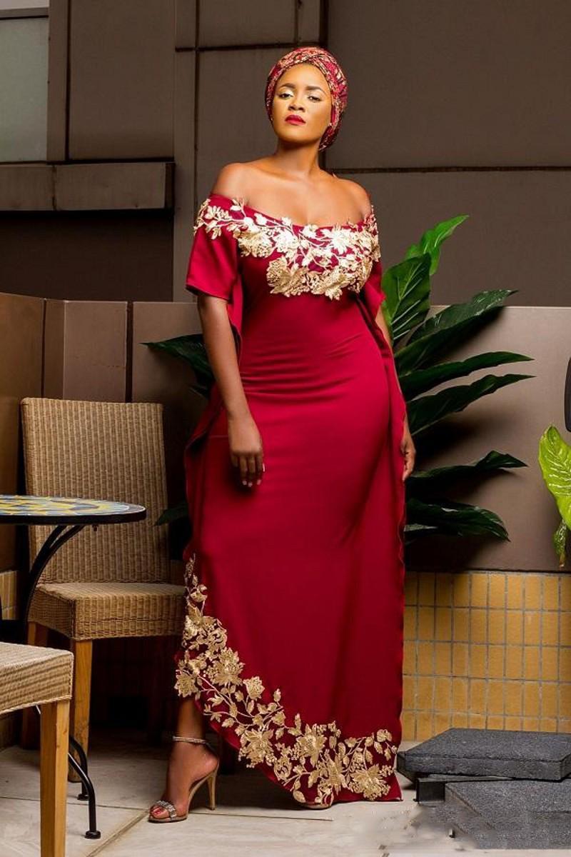 Afrique du Sud outre de l'épaule robes de bal rouge foncé robes de soirée Aso Ebi avec appliques d'or manches courtes longue soirée formelle robes