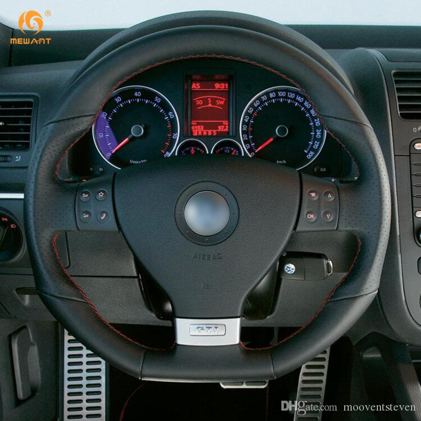 Mewant Black Artificial Leather Car Steering Wheel Cover For