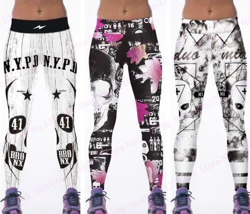 92babcbec2e3 Newest Pink Flowers Running Trousers Skull Leggings Gym Fitness ...