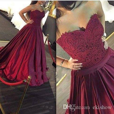 2017 Sexy Burgundy Strapless Sweetheart Lace A Line Wedding Dresses Satin Ruffle Floor Length Runaway Red Carpet Formal Bridal Gowns