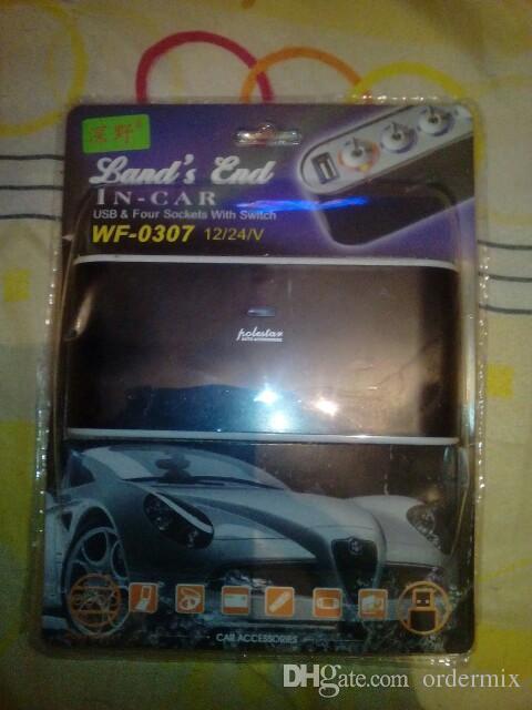 WF-0307 Way Multi Socket Car Charger Vehicle Auto Car Cigarette Lighter Socket Splitter & Dual USB Ports Plug Adapter 12v 24v