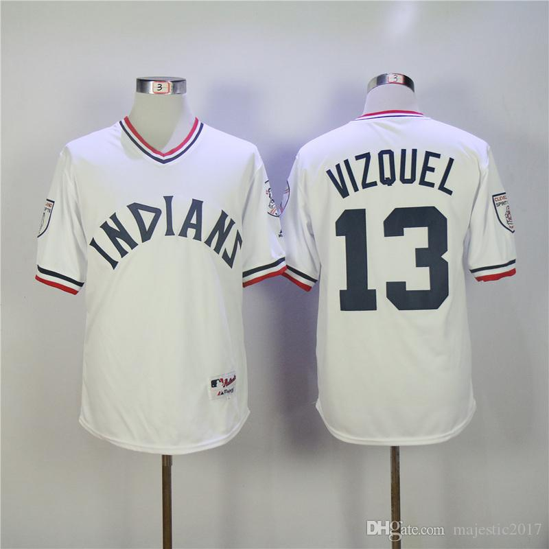 3b268258f8b ... Cool Base 2017 Omar Vizquel Jersey 13 Cleveland Indians Baseball Jersey  White Can Custom 4xl 5xl 6xl From ...