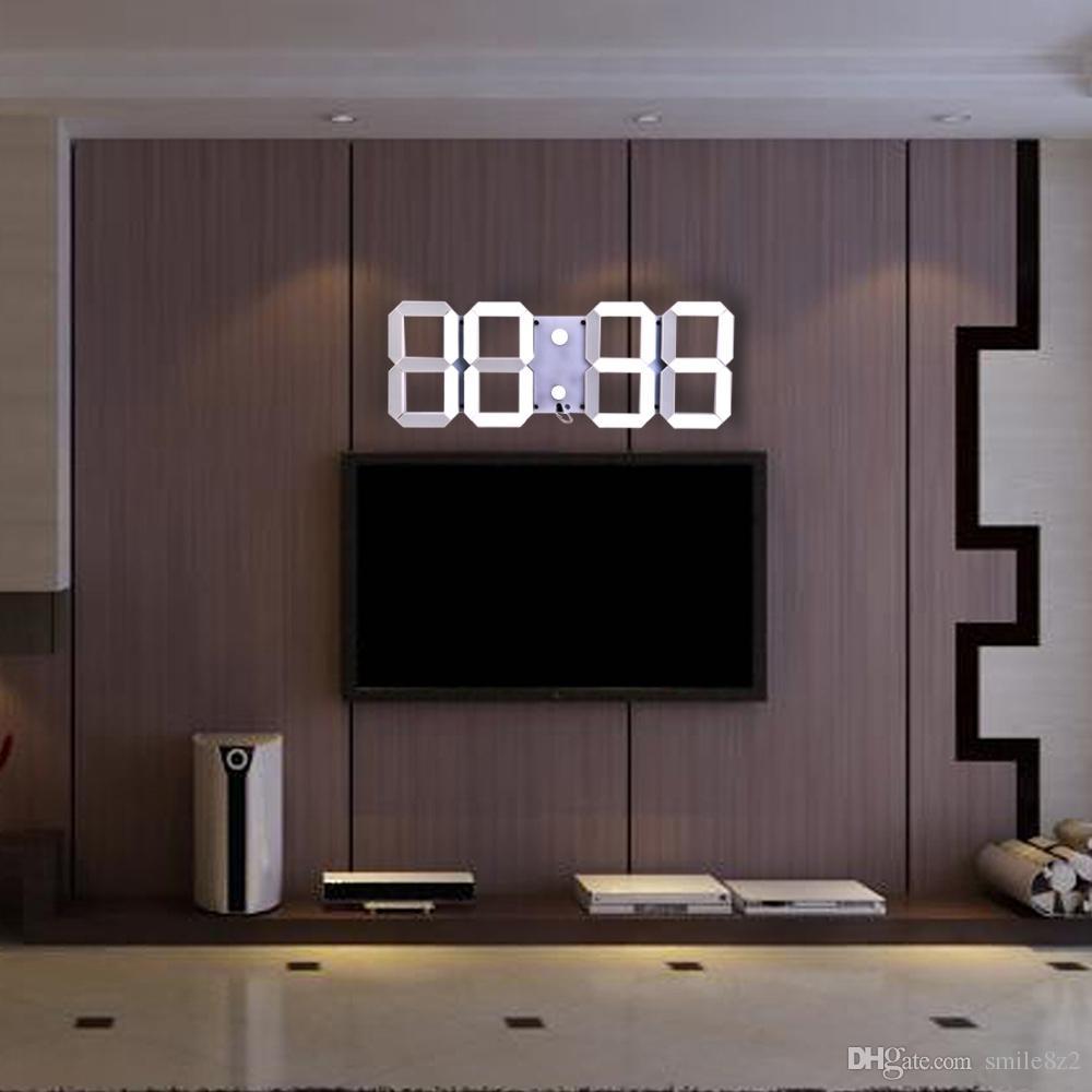 38eadbafdfc6 Compre Control Remoto Multifuncional Gran LED Reloj De Pared Digital Brillo  Cronómetro Ajustable Alarma Termómetro Cuenta Atrás Calendario + B A   108.55 Del ...