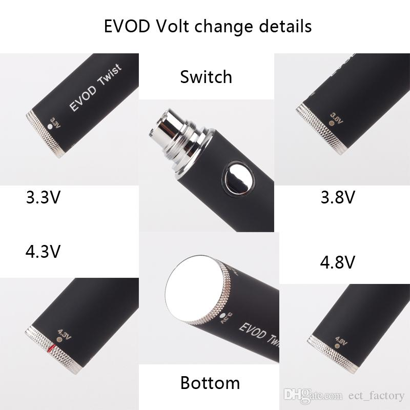 EVOD Variable Voltage battery 650mAh 900mAh 1100mAh evod twist eGo ecig batteries for MT3 CE4 CE5 atomizer