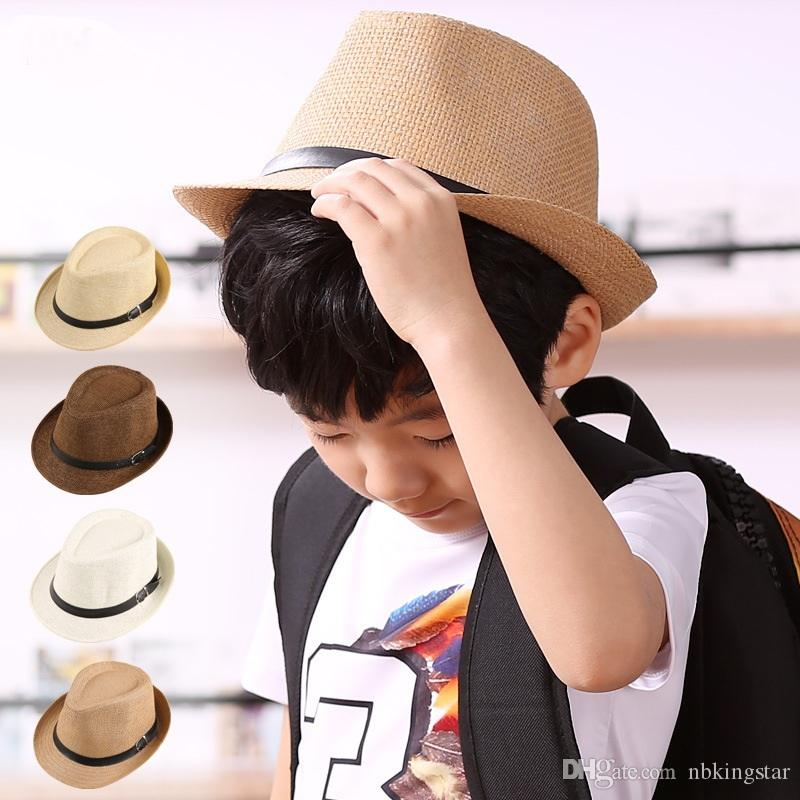 Unisex Kids Panama Hat With Leather Belt Summer Beach Trilby Hats ... f8ee90853389