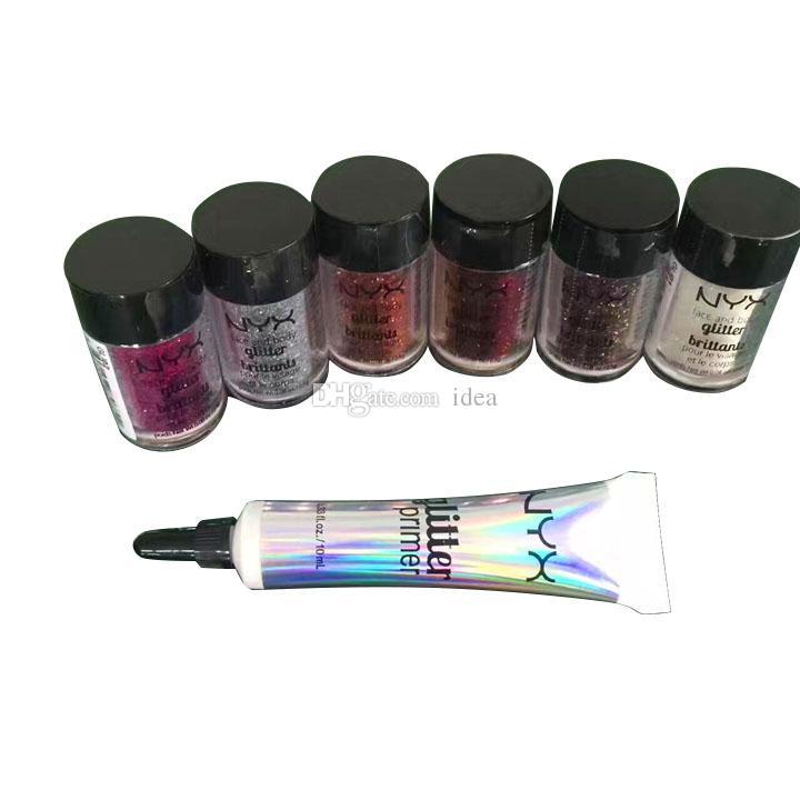 Beliebte NYX Glitter Primer Creme Concealer Creme NYX Glitter Gesicht und Körper schimmern Pulver 6 Farben Lidschatten Pulver + Geschenk gute Qualität