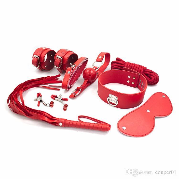 アダルトSMゲーム8ピース/セット手錠ニップルクランプホイップカラーエロおもちゃの革のセックスBDSMボンデージ拘束性のおもちゃのためのおもちゃ