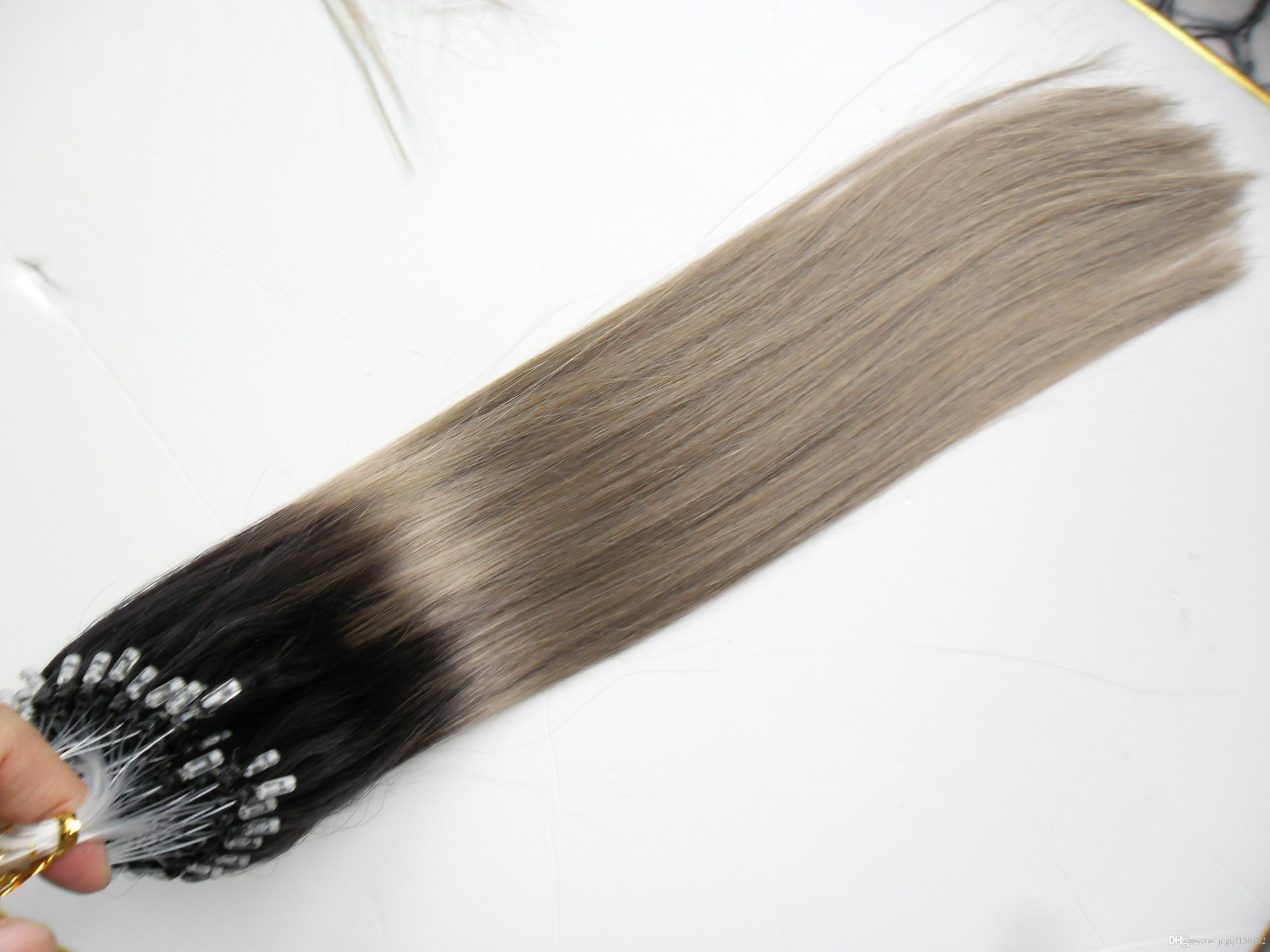 T1B/Grey Rey ombre human hair 100g 1g/s micro loop ombre silver gray 100s Apply Natural Hair Micro Link Hair Extensions Human