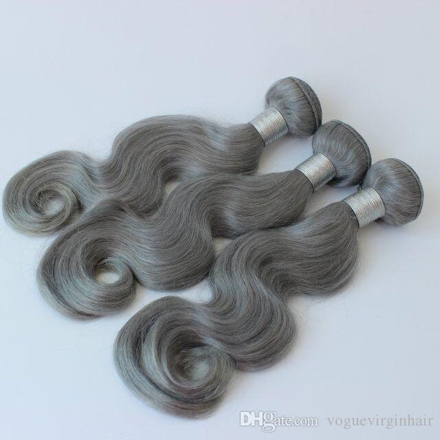 Best selling Brazilian Human Hair Weaves Grey Bundles 10-26 inch Unprocessed Brazillian Peruvian Indian Malaysian Body wave Hair Extensions