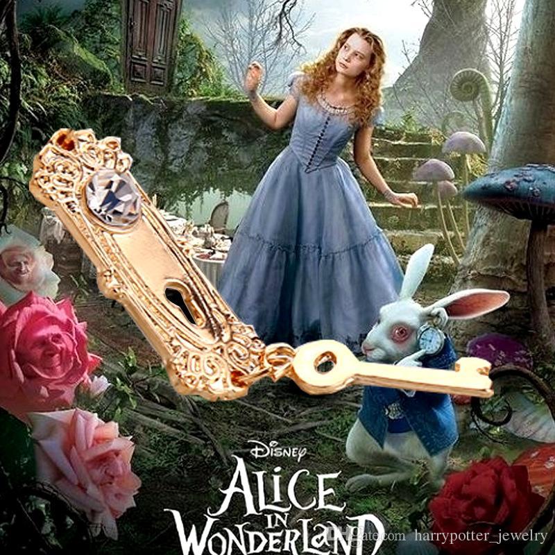 Alice nel Paese delle Meraviglie collana diamante Golden Key lock Collane con ciondolo donne Gioielli dichiarazione film regalo di Natale Drop Ship 160564