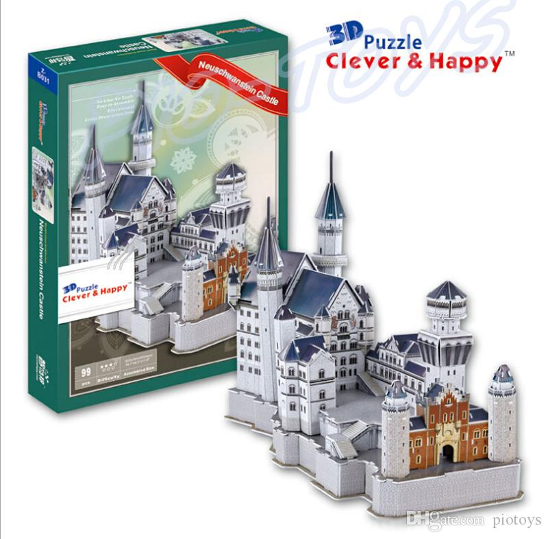 New Year Gift Neuschwanstein Castle 3D Puzzle Model Architecture Paper Puzzle DIY Intelligence Toy Cubic Building Puzzle Toys