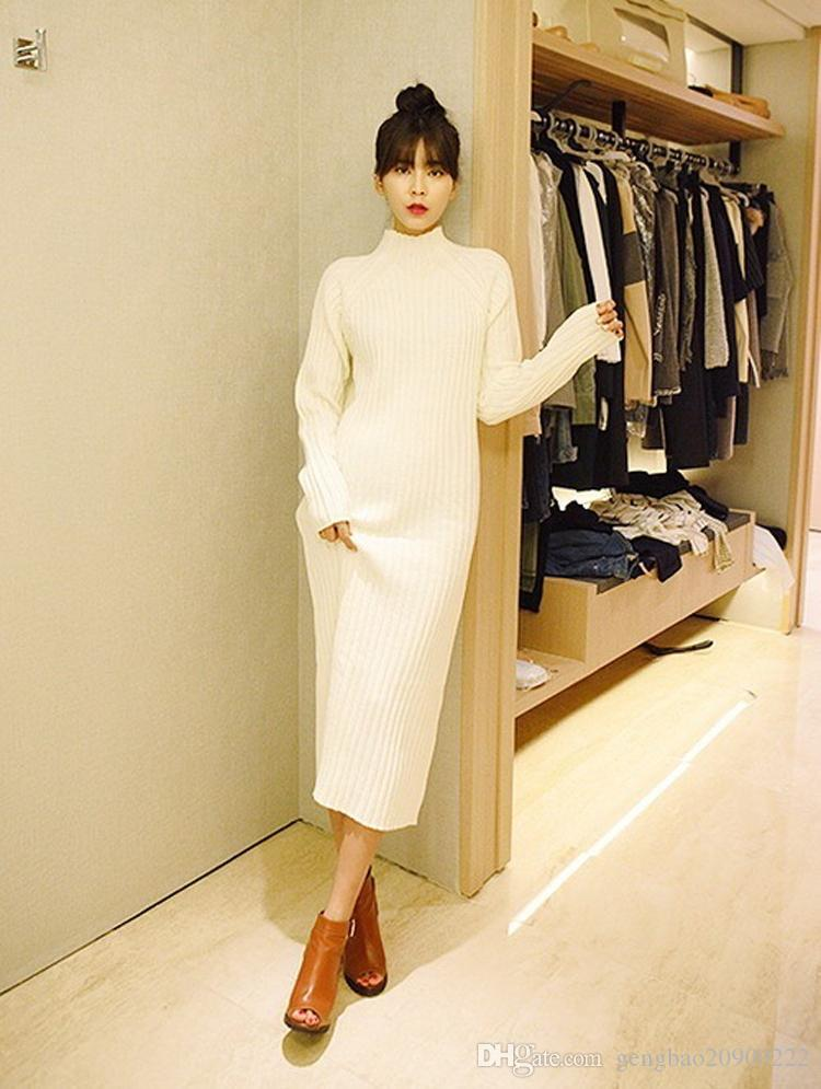 3c96d0b4 Vintage Vestidos Autumn Winter Casual Loose Sweater Dresses Sexy Elegant  Female Slim Fit Long Sleeve Knitted White Black Red Dress Blue Lace Maxi  Dress ...