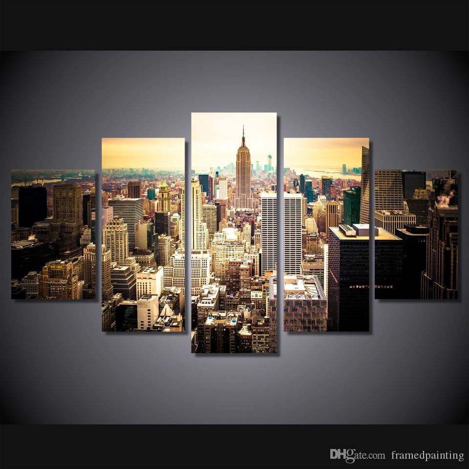 5 Pz / set Incorniciato HD Stampato New York City Picture Wall Art Canvas Print Room Decor Poster Foto Su Tela Pittura