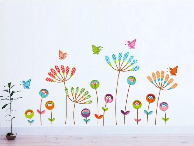 * Cartoon Colorful Flower Butterfly Wall Stickers Home Decor Kids Room  Living Room Bedroom Vinyl Wall Decal Removeable Wallpaper Letter Wall  Stickers Love ...