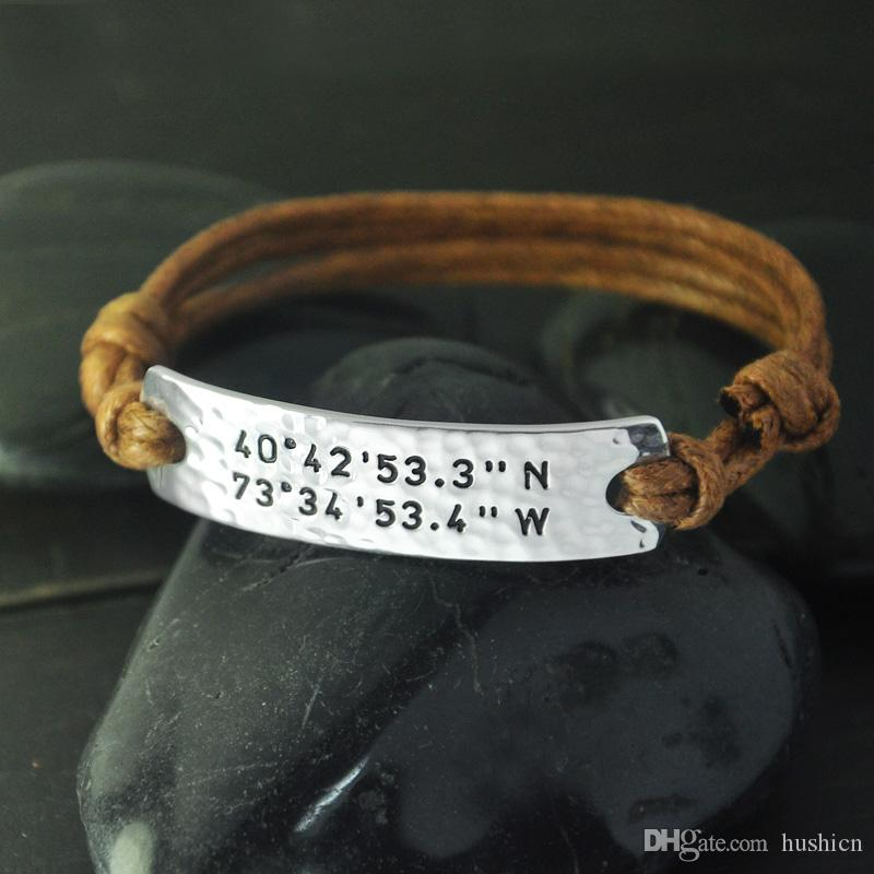 latitude custom and coordinates dp com bracelet stamped gps personalized hand longitude amazon