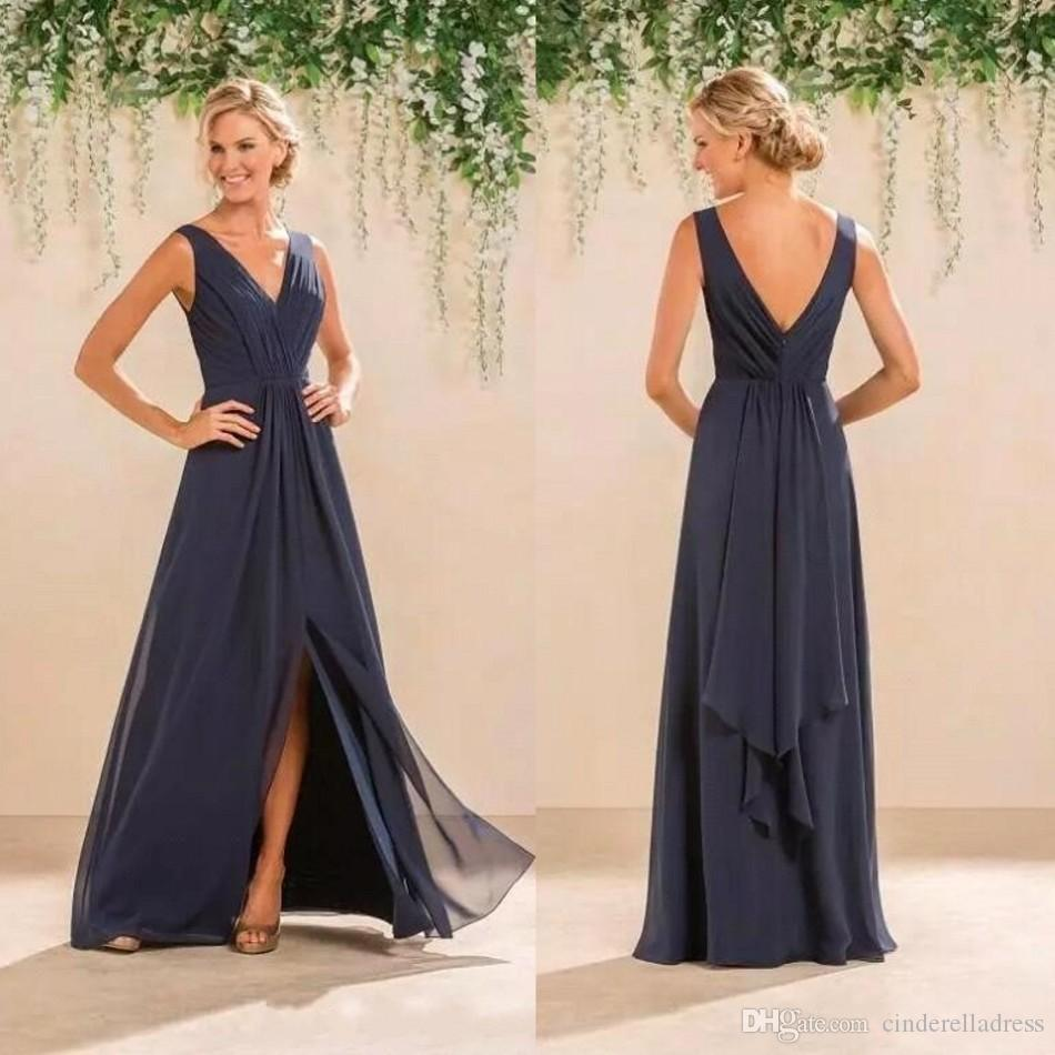 85e2332470 2018 Fashion Navy Blue Split Front V Neck A-Line Bridesmaid Dresses Chiffon  Backless Long Custom Made Plus Size Maid Of Honor Gowns BA6612